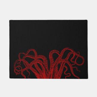 赤いヴィンテージのタコの触手のイラストレーション ドアマット