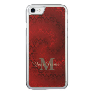 赤いヴィンテージのダマスク織のモノグラムパターン CARVED iPhone 7 ケース