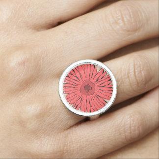 赤いヴィンテージの抽象芸術のガーリーなヒマワリ 指輪
