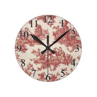赤いヴィンテージToile ラウンド壁時計