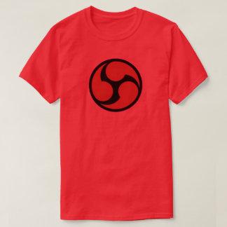 赤い三倍666の盾のグラフィックのティー Tシャツ