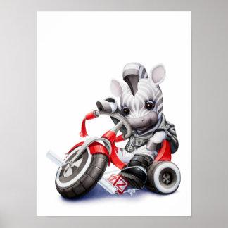 赤い三輪車の子供部屋のプリントに乗っているベビーのシマウマ ポスター