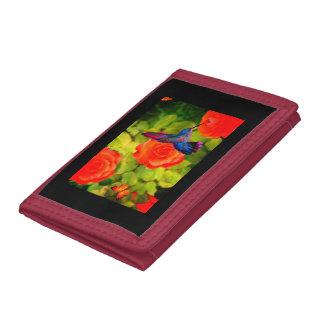 赤い三重ナイロン財布のハチドリ及び花 ナイロン三つ折りウォレット
