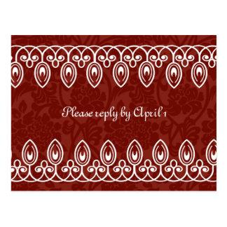 赤い中世ブロケードのrsvp ポストカード