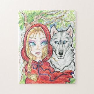 赤い乗馬フードおよびオオカミのパズル ジグソーパズル