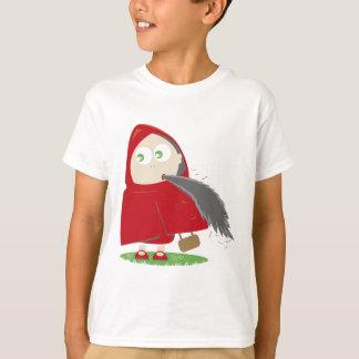 赤い乗馬フードに食欲があります Tシャツ