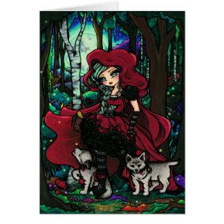 赤い乗馬フードのおとぎ話のファンタジーの芸術 カード