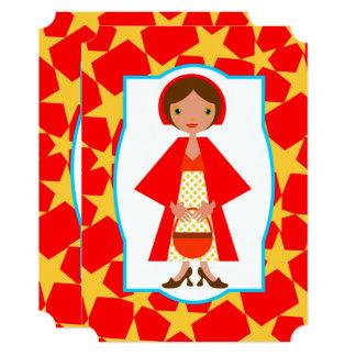 赤い乗馬フードの女の子の誕生日のパーティの招待状 カード