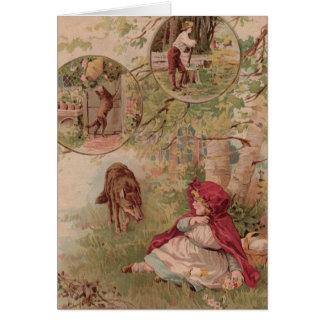 赤い乗馬フードの方のオオカミの歩く カード