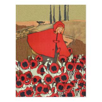 赤い乗馬フードの盗品のケシの郵便はがき ポストカード