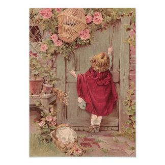 赤い乗馬フードはドアでたたきます カード