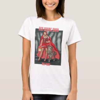赤い乗馬フード-より飼いならされたオオカミ Tシャツ