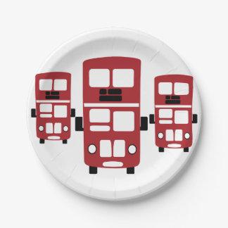 赤い二重デッカーバス紙皿 ペーパープレート