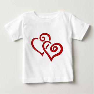 赤い二重ハート ベビーTシャツ