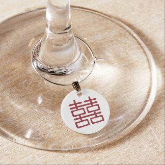 赤い二重幸福の東洋の結婚式のワインチャーム ワインチャーム