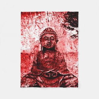 赤い仏のグランジな芸術毛布 フリースブランケット