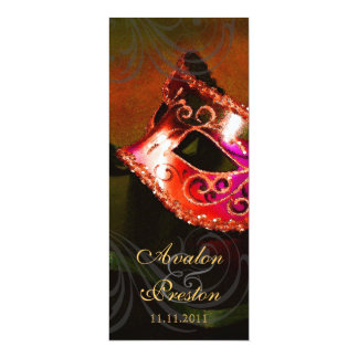 赤い仮面舞踏会の結婚式プログラムの招待状 カード