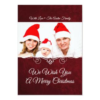 赤い休日の写真カード カード