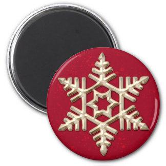 赤い休日の磁石の金ゴールドの雪片 マグネット