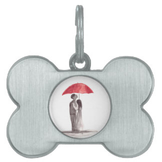 赤い傘のカップル ペットネームタグ