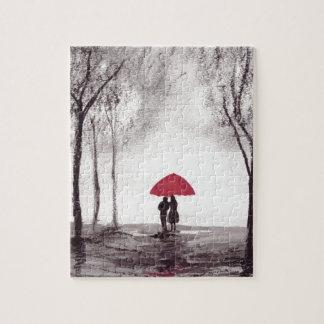 赤い傘愛カップル ジグソーパズル