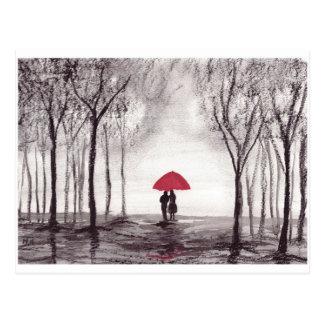 赤い傘愛カップル ポストカード