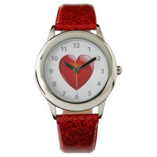 赤い光沢のあるハート 腕時計