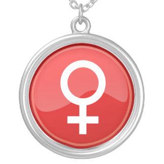 赤い光沢のある女性の記号の女性アイコン シルバープレートネックレス