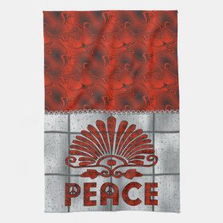赤い入れ墨の平和芸術 キッチンタオル