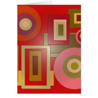 赤い円および正方形 カード