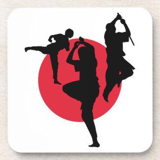 赤い円の武道の姿 コースター