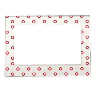 赤い円の点のレトロのデザイン マグネットフレーム