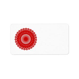 赤い円形のレースパターングラフィック ラベル