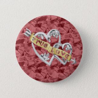赤い円形の本当愛によって結合されるハートボタン 5.7CM 丸型バッジ