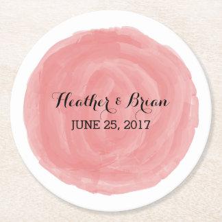 赤い円形の水彩画の結婚式の紙のコースター ラウンドペーパーコースター
