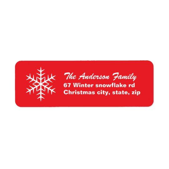 赤い冬の雪片家族のクリスマスの休日 返信用宛名ラベル