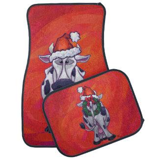 赤い分野の牛クリスマス カーマット