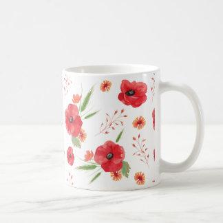 赤い分野の花模様 コーヒーマグカップ