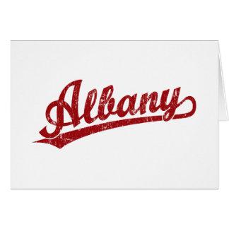 赤い動揺してのアルバニーの原稿のロゴ カード
