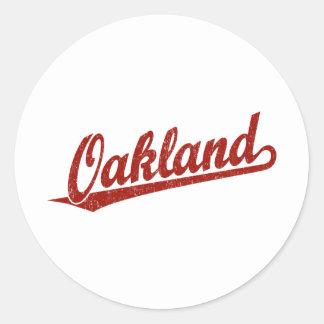 赤い動揺してのオークランドの原稿のロゴ ラウンドシール