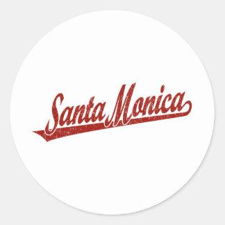 赤い動揺してのサンタモニカの原稿のロゴ ラウンドシール