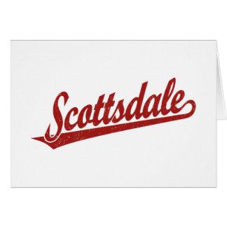 赤い動揺してのスコッツデールの原稿のロゴ カード