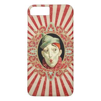 赤い動揺してのヴィンテージのサーカスのピエロは縞で飾ります iPhone 7 PLUSケース
