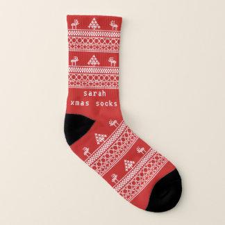 赤い北欧のトナカイの醜いクリスマスのソックス ソックス