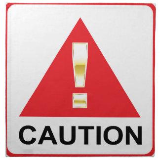 赤い印の注意の金ゴールドの注意の印 ナプキンクロス