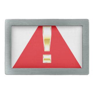 赤い印の注意の金ゴールドの注意の印 長方形ベルトバックル