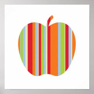 赤い及びオレンジストライプなポスターが付いている秋モダンなApple ポスター