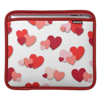 赤い及びピンクのハートパターンiPadの袖 iPadスリーブ