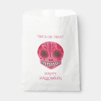 赤い及びピンクの砂糖のスカルのハッピーハローウィンの好意のバッグ フェイバーバッグ