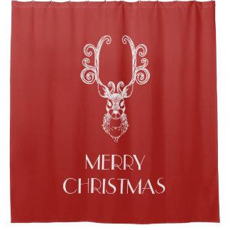 赤い及びホワイトクリスマスのトナカイのメリークリスマス シャワーカーテン